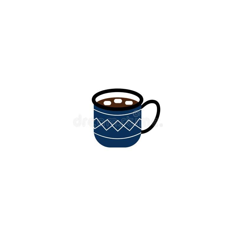 Schale der heißen Schokolade mit den Eibischen, blau mit Verzierung lizenzfreie abbildung