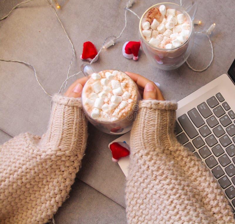 Schale der heißen Schokolade mit Eibisch in einer Frauenhand stockfoto