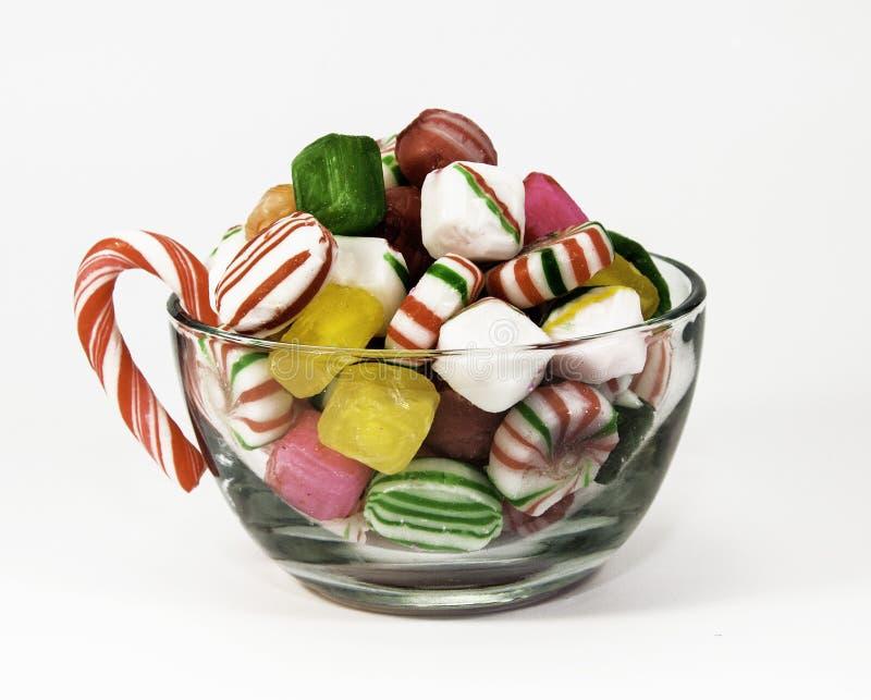 Schale der Weihnachtssüßigkeit lizenzfreie stockfotos