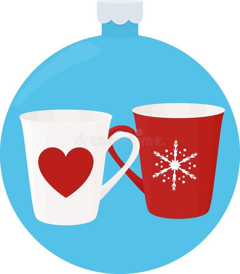 Schale des neuen Jahres mit Verzierungen im blauen Weihnachtenbaumball lizenzfreie abbildung