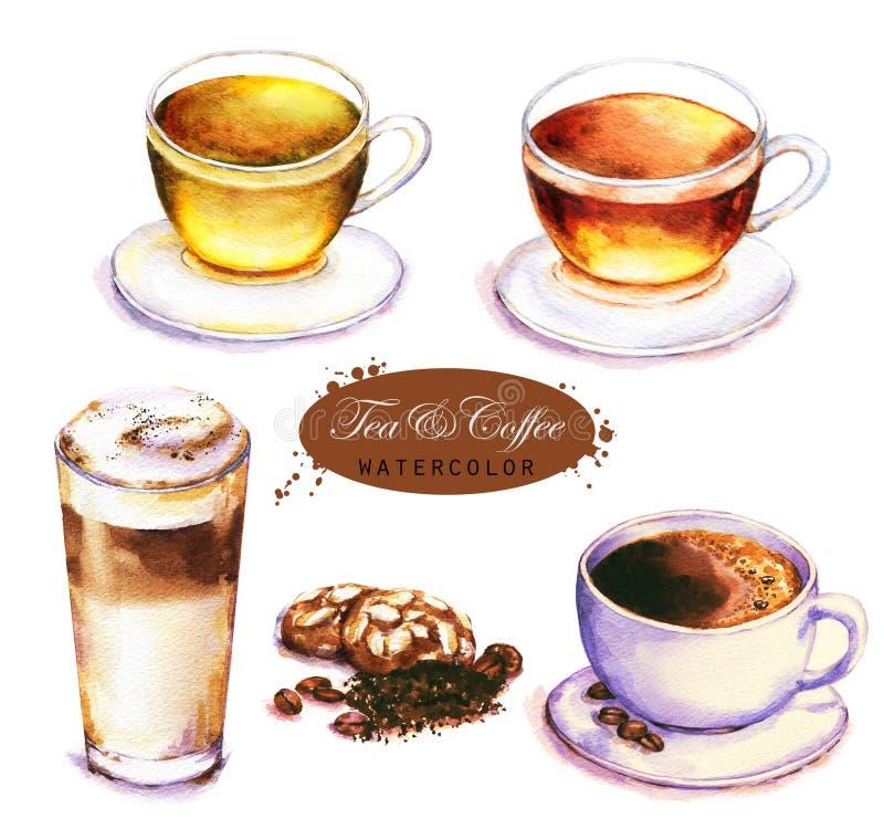 Schale des schwarzen und grünen Tees, des Kaffeeespressos und des Latte lokalisiert auf dem weißen Hintergrund stockfotografie