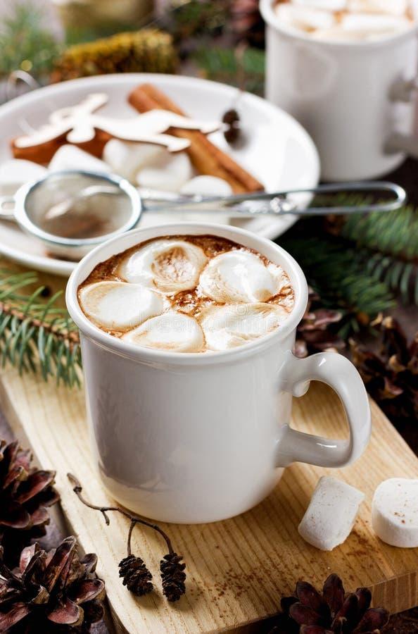 Schale heißer Kakao oder Schokolade mit Eibischen auf hölzernem Hintergrund lizenzfreies stockfoto
