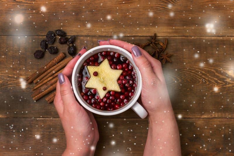 Schale heißer Tee mit Beere und Apple-Zimt würzt die hölzernen Hintergrund Weihnachtslebensmittel-Konzept-Draufsicht-weiblichen H stockfotografie