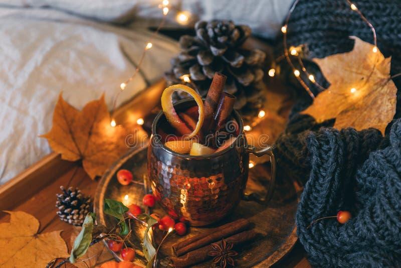 Schale heißer würziger Tee mit Anis und Zimt Vase mit trockenen Blättern, Apfel und Kerzen auf dem Rausschmiß lizenzfreie stockfotos