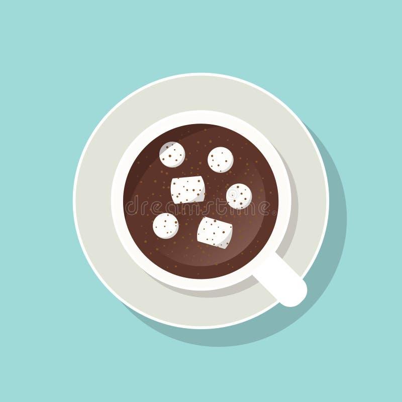 Schale Kakao mit Eibischen und gemahlenem Zimt lizenzfreie abbildung