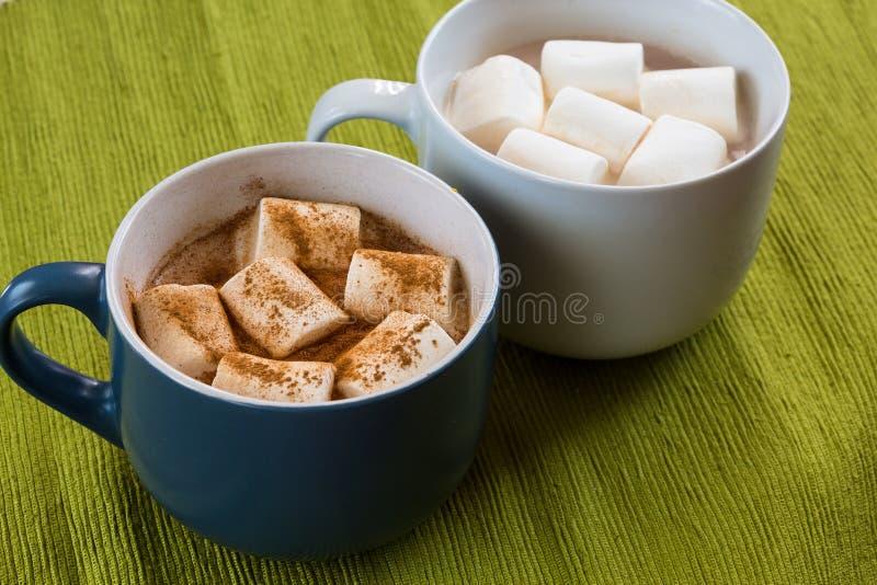 Schale Kakao mit marshmellow und Zimt stockfotografie
