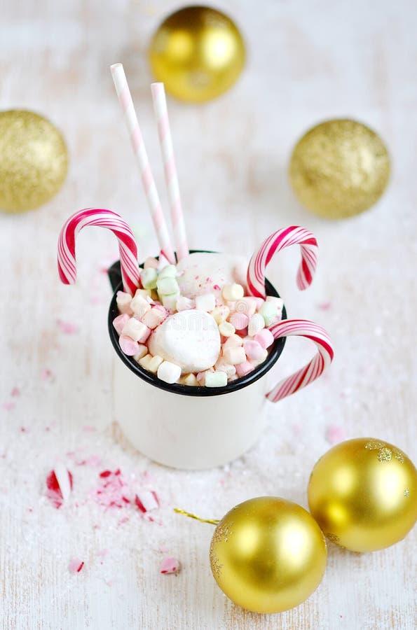 Schale mit heißer Schokolade, Eibische, Zuckerstangen auf dem Schnee stockbilder