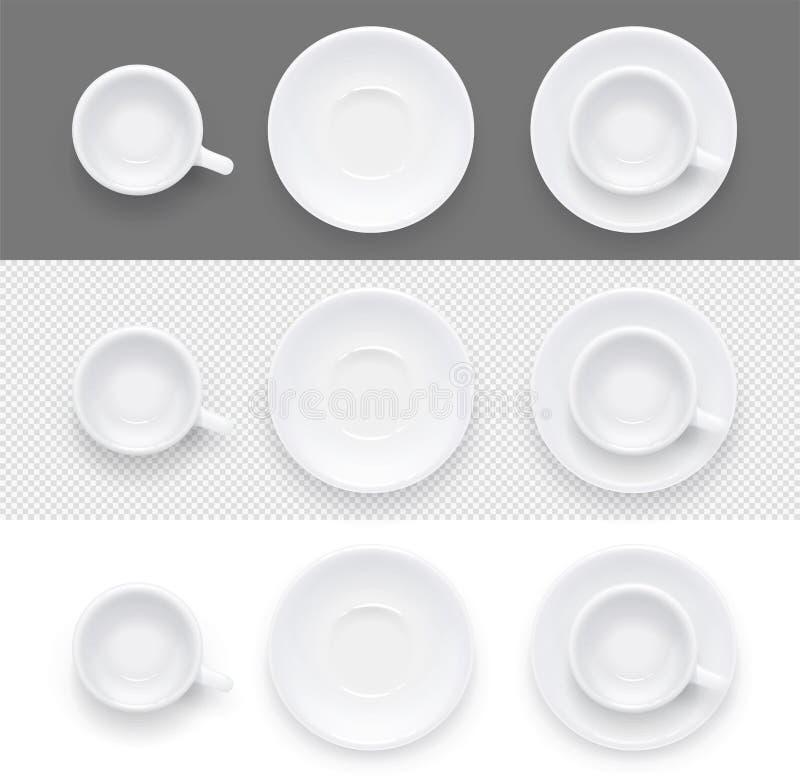 Schale und Platte für Kaffeetee Keramische Teller trinken Auch im corel abgehobenen Betrag lizenzfreie abbildung