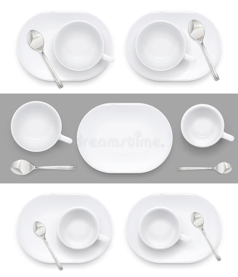 Schale und Platte für Kaffeetee Keramische Teller trinken Auch im corel abgehobenen Betrag stock abbildung