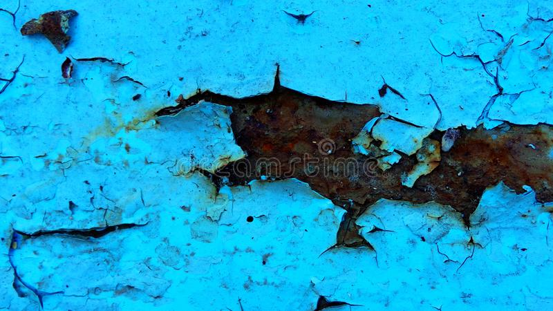 Schale, Vernachlässigung, gebrochener, rostiger, rauer blauer Farbenhintergrund lizenzfreie stockfotografie