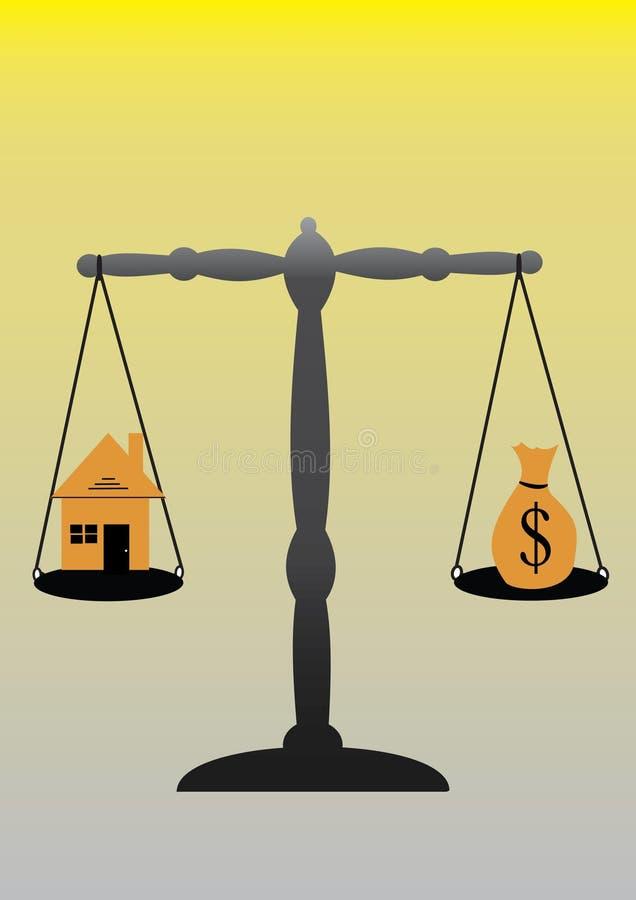 Schalen en huis stock illustratie