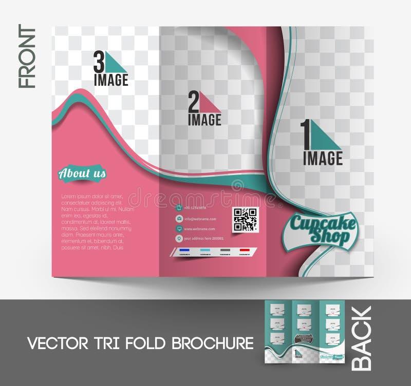 Schalen-Kuchen-Shop-dreifachgefaltete Broschüre vektor abbildung