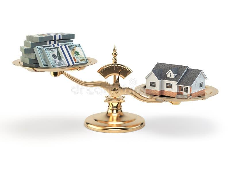 Schalen met huis en geld Het concept van onroerende goedereninvesteringen stock illustratie