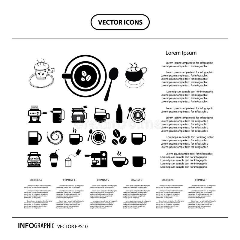 Schalen- und Kaffeeinformationsgraphikikone stock abbildung