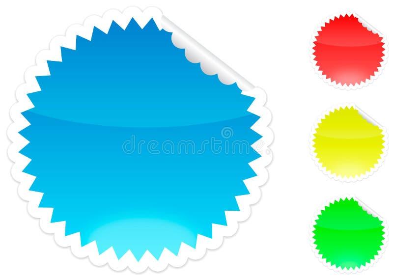 Schalenaufkleber blau, rot, gelb und grün lizenzfreie abbildung