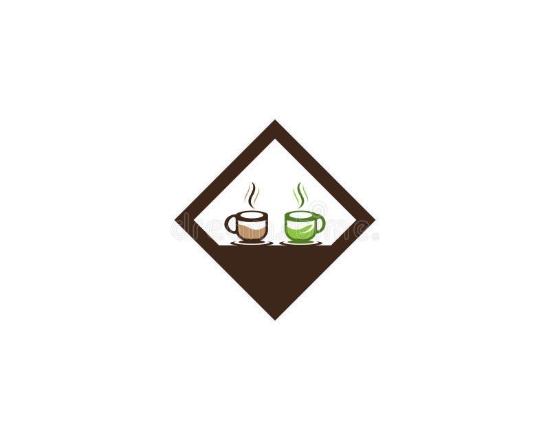 Schalenikonenlogoschablone des Kaffees und des grünen Tees lizenzfreie abbildung