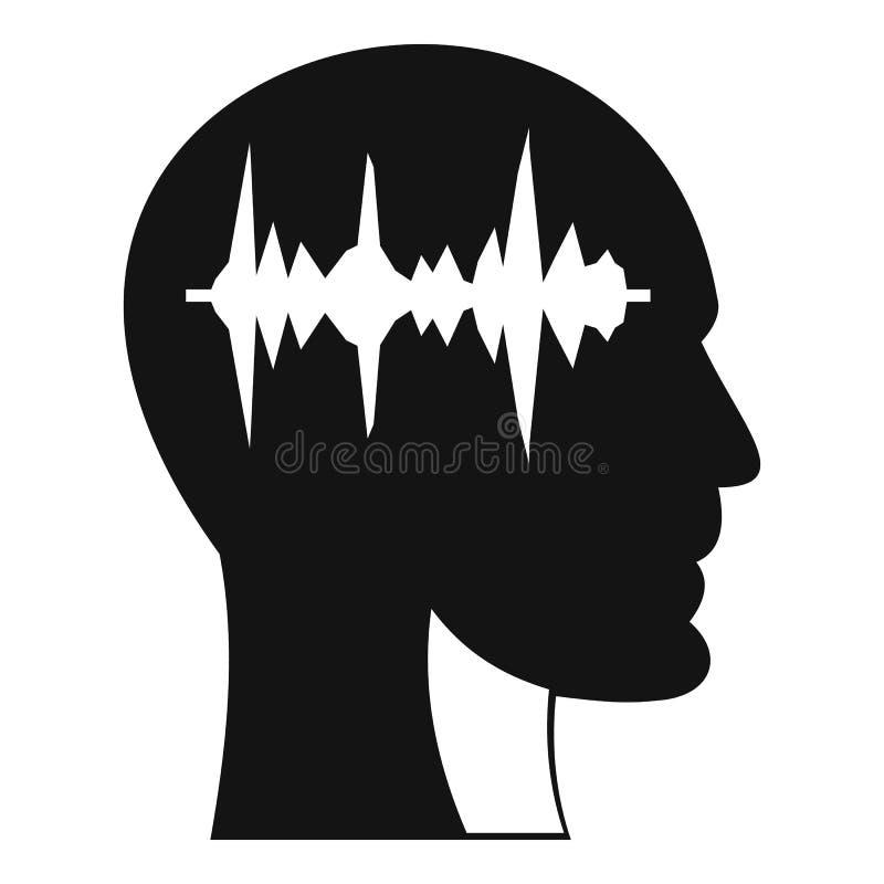 Schallwelleikone in der Ikone des menschlichen Kopfes, einfache Art vektor abbildung