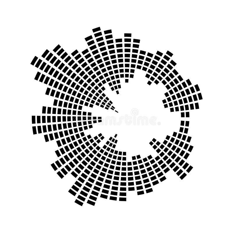 Schallwellekreisvektorsymbol-Ikonendesign der Entzerrermusik lizenzfreie abbildung