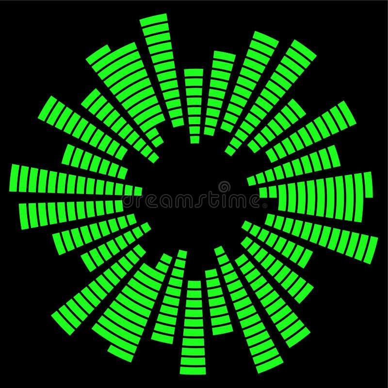 Schallwellekreisvektorsymbol-Ikonendesign der Entzerrermusik E lizenzfreie abbildung