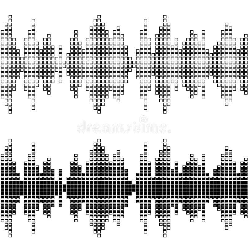 Schallwellemuster des schwarzen Quadrats stock abbildung