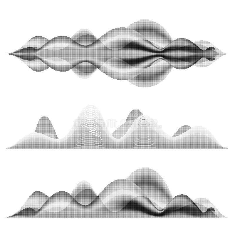 Schallwellen der Musik Halbtonvektorillustrationen vektor abbildung