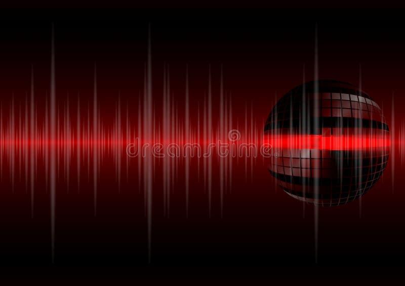 Schallwellen und Discokugel stock abbildung