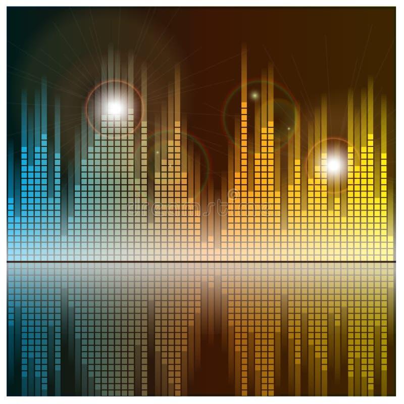 Schallwellen und Musikhintergrund Audioentzerrer lizenzfreie abbildung