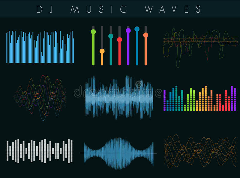 Schallwellen Vektor DJ eingestellt Bunter abstrakter futuristischer Entzerrer stock abbildung