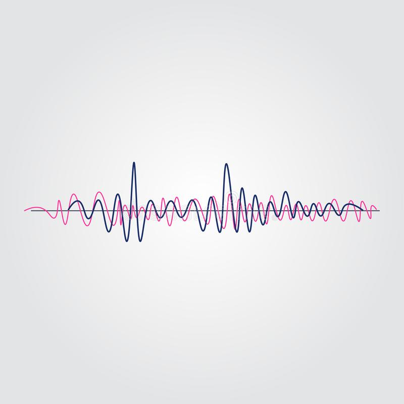 Schallwellesatz der Musik lokalisiert auf weißem Hintergrund Impulsmusical Auch im corel abgehobenen Betrag stock abbildung