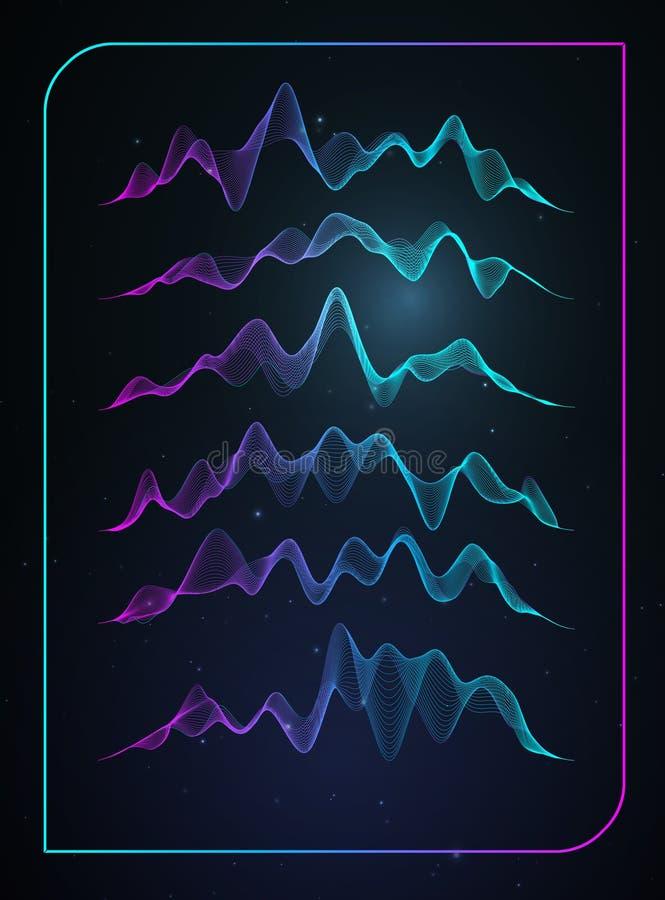 Schallwellevektor Vector Musikspracherschütterung, digitales Spektrum der Liedwellenform, Audioimpuls und Wellenformfrequenz vektor abbildung