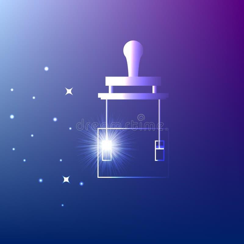 Schaltermesser Leistungsschalter auf blauem Hintergrund Glühende Ikone Idee, Strom, Energie, Innovation oder anderes Konzept illu stock abbildung