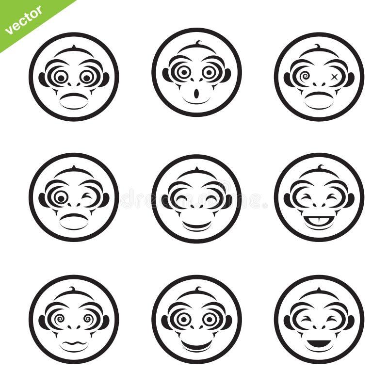 Schaltgruppe des Affen im Kreis stock abbildung