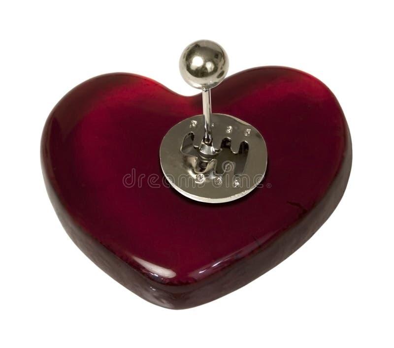 Schalthebel auf rotem Herzen stockfotos