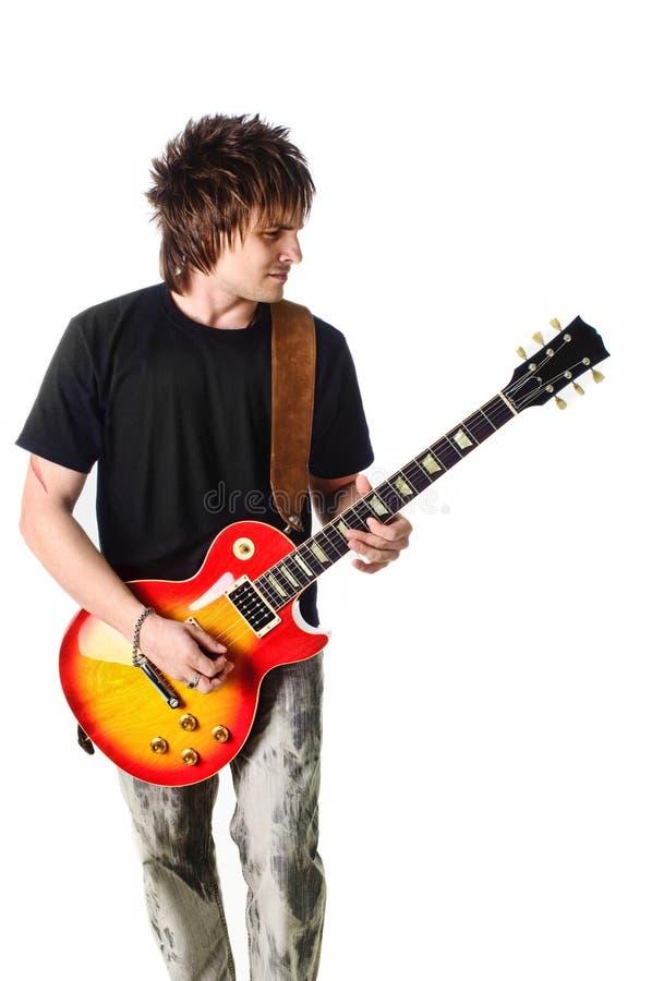 Schalthebel mit elektrischer Gitarre lizenzfreies stockbild