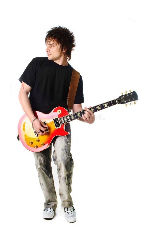 Schalthebel mit elektrischer Gitarre stockbild