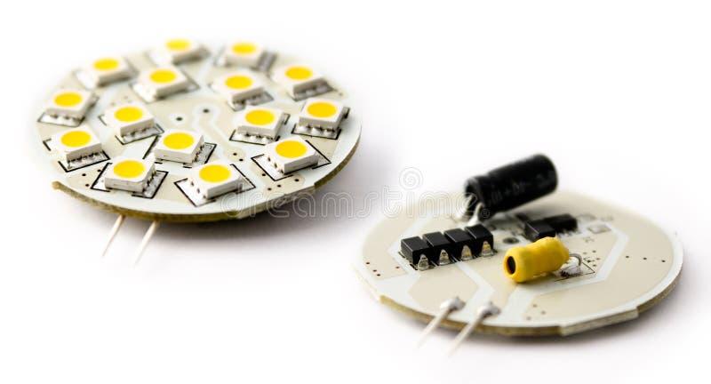 Schaltkreis oben nahe LED zwei stockbilder