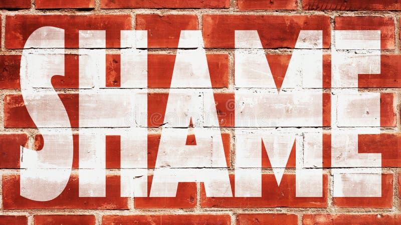 Schande auf einer Backsteinmauer stockbilder