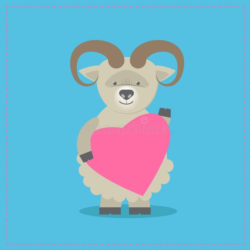 Schapen die een hart houden Pluchestuk speelgoed lam met hart Gift prentbriefkaar vector illustratie