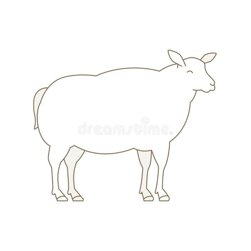 Schapen dierlijk landbouwbedrijf De ooi van het schaapfokken De productie van het wollam Yeanling Wit pluizig lam Wolproductie li stock illustratie