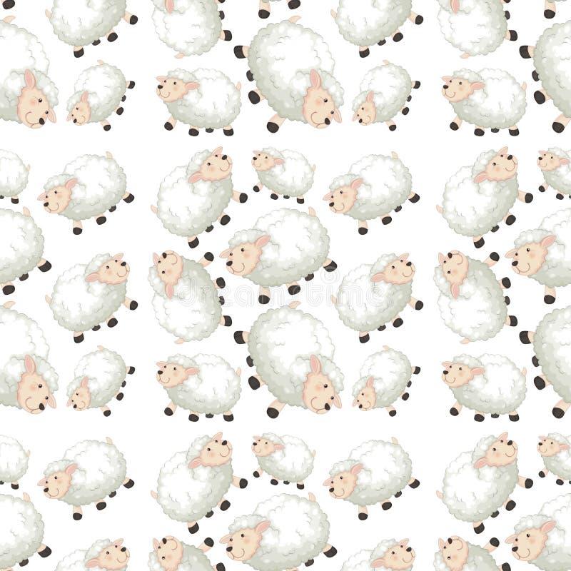 Schapen op naadloos patroon royalty-vrije illustratie