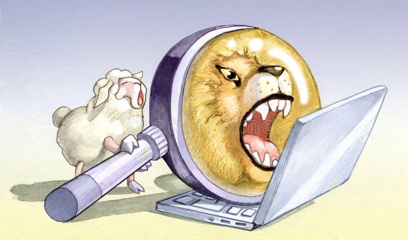 Schapen valse leeuwen stock illustratie