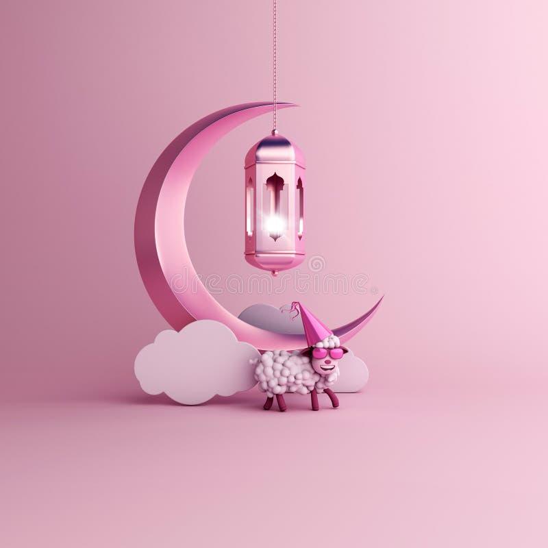 Schapen, wolk, toenemende maan, hangende Arabische lamp op studio die roze pastelkleurachtergrond aansteken royalty-vrije illustratie