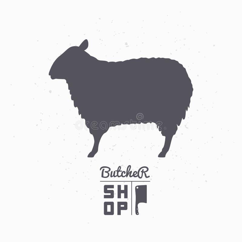 Schapensilhouet Lamsvlees Het malplaatje van het slagerijembleem stock illustratie