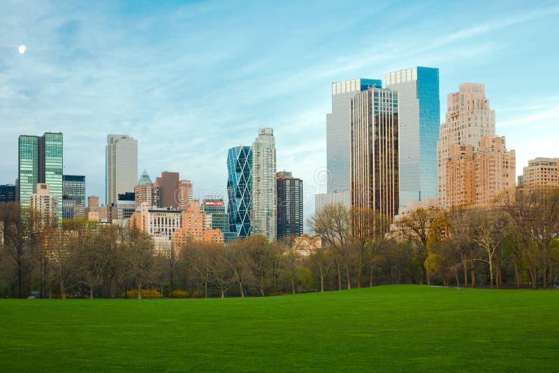 Schapenweide bij Central Park en Uit het stadscentrum horizon in NYC royalty-vrije stock fotografie