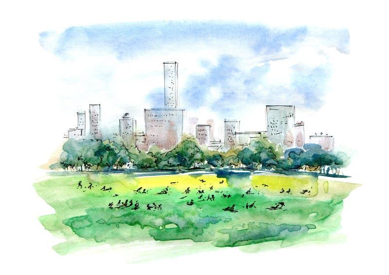 Schapenweide en wolkenkrabbers Centraal park in de zomer royalty-vrije illustratie