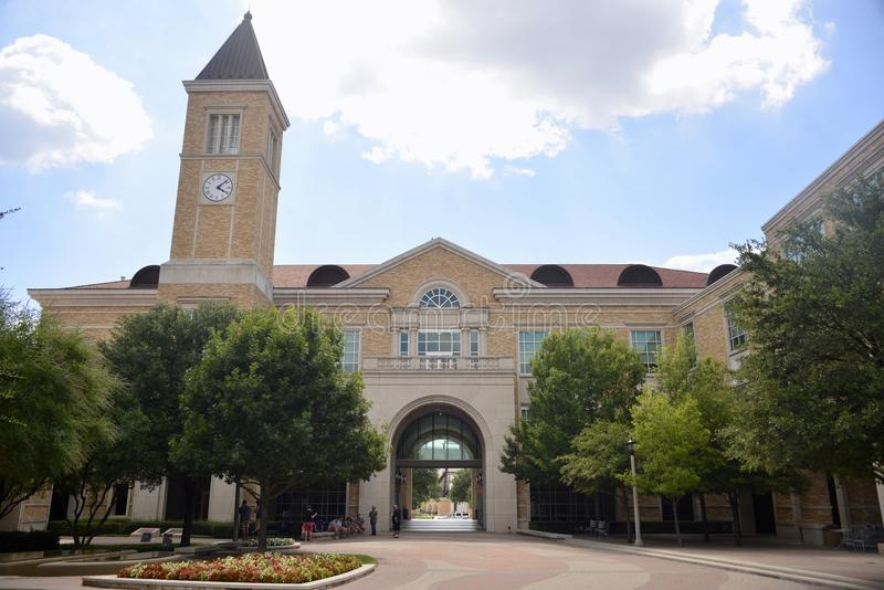 Scharbauer Hall Entrance in Texas Christian University stock foto's