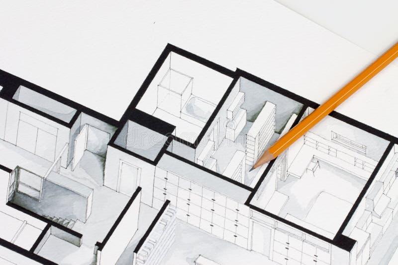 Scharfe Orange glasierte regelmäßigen Bleistift auf isometrischer Innenausstattungsarchitekturzeichnung der Immobilien des Grundr lizenzfreie abbildung