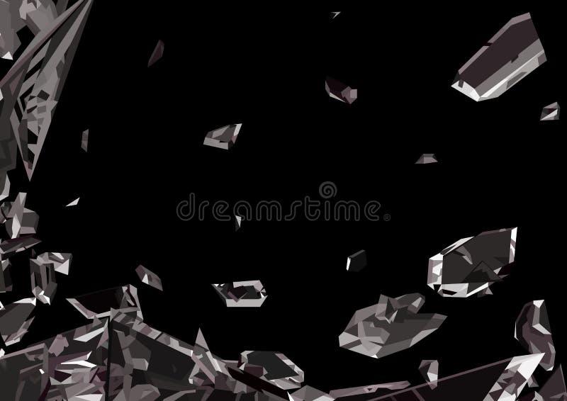 Scharfe Stücke zertrümmertes Glas lokalisiert vektor abbildung