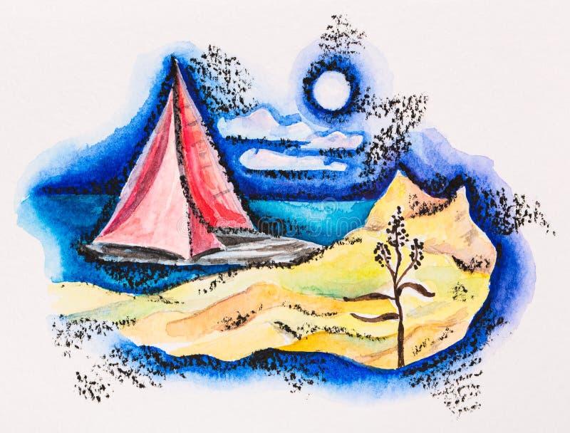 Scharlachrot segelte Boots-Meerblick stock abbildung