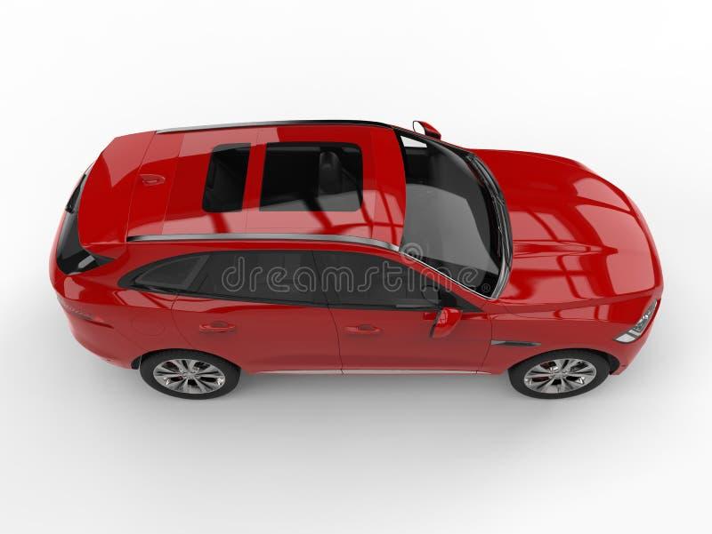Scharlakansröd röd modern 4x4 SUV - bästa sikt för sida vektor illustrationer